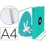 Liderpapel Antartik AW63 - Carpeta de anillas, 4 anillas mixtas de 40 mm, cartón forrado, tamaño A4, color menta