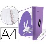 Liderpapel Antartik AW64 - Carpeta de anillas, 4 anillas mixtas de 40 mm, cartón forrado, tamaño A4, color lavanda
