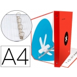 Liderpapel Antartik KA25 - Carpeta de anillas, 4 anillas mixtas de 40 mm, cartón forrado, tamaño A4, color rojo