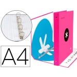 Liderpapel Antartik KA26 - Carpeta de anillas, 4 anillas mixtas de 40 mm, cartón forrado, tamaño A4, color rosa fluorescente