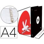 Liderpapel Antartik KA28 - Carpeta de anillas, 4 anillas mixtas de 40 mm, cartón forrado, tamaño A4, color negro