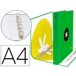 Liderpapel Antartik KA30 - Carpeta de anillas, 4 anillas mixtas de 40 mm, cartón forrado, tamaño A4, color verde fluorescente