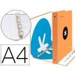 Liderpapel Antartik KA32 - Carpeta de anillas, 4 anillas mixtas de 40 mm, cartón forrado, tamaño A4, color naranja fluorescente