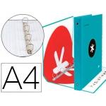 Liderpapel Antartik KA33 - Carpeta de anillas, 4 anillas mixtas de 40 mm, cartón forrado, tamaño A4, color turquesa
