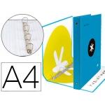 Liderpapel Antartik KA34 - Carpeta de anillas, 4 anillas mixtas de 40 mm, cartón forrado, tamaño A4, color azul