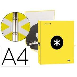 Liderpapel Antartik KA40 - Carpeta de anillas, 4 anillas redondas de 25 mm, cartón forrado, tamaño A4, color amarillo fluorescente