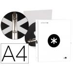 Liderpapel Antartik KA42 - Carpeta de anillas, 4 anillas redondas de 25 mm, cartón forrado, tamaño A4, color blanco