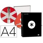 Liderpapel Antartik KA44 - Carpeta de anillas, 4 anillas redondas de 25 mm, cartón forrado, tamaño A4, color negro