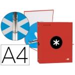 Liderpapel Antartik KA45 - Carpeta de anillas, 4 anillas redondas de 25 mm, cartón forrado, tamaño A4, color rojo