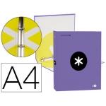 Liderpapel Antartik KA49 - Carpeta de anillas, 4 anillas redondas de 25 mm, cartón forrado, tamaño A4, color violeta
