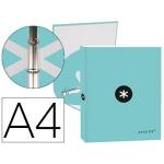 Liderpapel Antartik KA51 - Carpeta de anillas, 4 anillas redondas de 25 mm, cartón forrado, tamaño A4, color menta