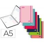 Liderpapel Basic - Agenda escolar, 2020-2021, tamaño A5, impresión dos día página, tapa cartón laminado, encuadernada con espiral, cierre con goma