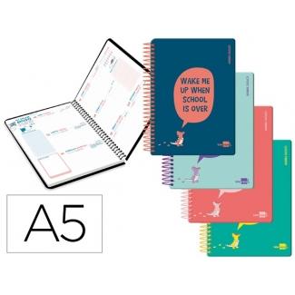 Liderpapel Basic - Agenda escolar, 2020-2021, tamaño A5, impresión semana vista, tapa polipropileno rígido, encuadernada con espiral