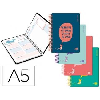 Liderpapel Basic - Agenda escolar, 2020-2021, tamaño A5, impresión día página, tapa polipropileno rígido, encuadernada con espiral