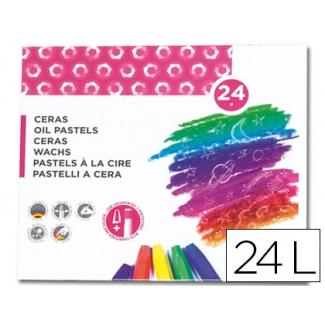 Liderpapel BD03 - Ceras blandas, caja de 24 colores, con sacapuntas y portaceras