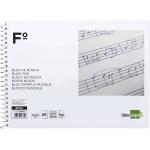 Liderpapel BM02 - Bloc de música, tamaño folio apaisado, 20 hojas de 100 gr, pentagrama de 3 mm de interlineado