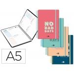 Liderpapel Classic - Agenda escolar, 2020-2021, tamaño A5, impresión dos días página, tapa cartón laminado, encuadernada con espiral, cierre con goma