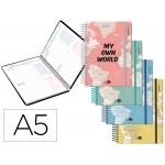 Liderpapel College - Agenda escolar, 2020-2021, tamaño A5, impresión dos día página, tapa cartón laminado, encuadernada con espiral, cierre con goma