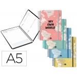 Liderpapel College - Agenda escolar, 2020-2021, tamaño A5, impresión día página, tapa cartón laminado, encuadernada con espiral, cierre con goma