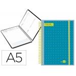 Liderpapel College - Agenda escolar, 2020-2021, tamaño A5, impresión día página, tapa polipropileno personalizable, encuadernada con espiral, cierre con goma
