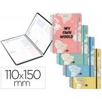 Liderpapel College Mini - Agenda escolar, 2020-2021, tamaño 110x150 mm, impresión dos día página, tapa cartón laminado, encuadernada con espiral, cierre con goma
