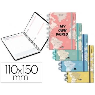 Liderpapel College Mini - Agenda escolar, 2020-2021, tamaño 110x150 mm, impresión día página, tapa cartón laminado, encuadernada con espiral, cierre con goma