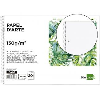 Liderpapel DA08 - Láminas de dibujo artístico, sin recuadro, bloc con espiral, folio, 20 hojas, 130 gramos, 2 taladros