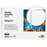 Liderpapel DA12 - Láminas de dibujo artístico, sin recuadro, bloc con espiral, folio, 20 hojas, 180 gramos