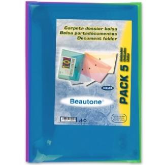 Liderpapel DS51 - Dossier con broche, A4, 180 micras, capacidad para 50 hojas, paquete de 5 unidades, colores surtidos transparentes