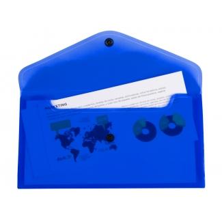 Liderpapel DS54 - Dossier con broche, 26 x 14 cm, 180 micras, capacidad para 50 hojas, color azul transparente frosty