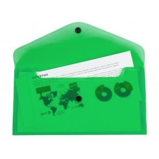Liderpapel DS55 - Dossier con broche, 26 x 14 cm, 180 micras, capacidad para 50 hojas, color verde transparente frosty