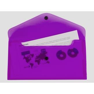 Liderpapel DS57 - Dossier con broche, 26 x 14 cm, 180 micras, capacidad para 50 hojas, color violeta transparente frosty