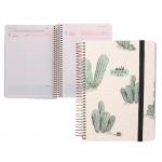 Liderpapel Fantasía Cactus - Agenda escolar, 2021-2022, tamaño A5, impresión día página, tapa cartón laminado, encuadernada con espiral, cierre con goma
