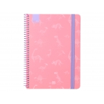 Liderpapel Fantasía Dino - Agenda escolar, 2020-2021, tamaño A5, impresión semana vista, tapa cartón laminado, encuadernada con espiral, cierre con goma, color rosa