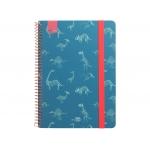 Liderpapel Fantasía Dino - Agenda escolar, 2021-2022, tamaño A5, impresión semana vista, tapa cartón laminado, encuadernada con espiral, cierre con goma, color azul