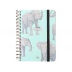Liderpapel Fantasía Elefantes - Agenda escolar, 2021-2022, tamaño A5, impresión día página, tapa cartón laminado, encuadernada con espiral, cierre con goma