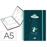 Liderpapel Fantasía Espacio - Agenda escolar, 2020-2021, tamaño A5, impresión semana vista, tapa cartón laminado, encuadernada con espiral, cierre con goma