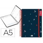 Liderpapel Fantasía Espacio - Agenda escolar, 2020-2021, tamaño A5, impresión día página, tapa cartón laminado, encuadernada con espiral, cierre con goma