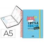 Liderpapel Fantasía Littel Monster - Agenda escolar, 2020-2021, tamaño A5, impresión semana vista, tapa cartón laminado, encuadernada con espiral, cierre con goma