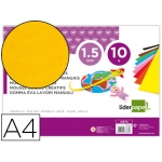 Liderpapel GE74 - Goma eva, espesor de 1,5 mm, tamaño A4, paquete de 10, color amarillo