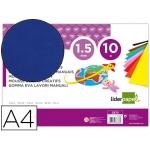 Liderpapel GE75 - Goma eva, espesor de 1,5 mm, tamaño A4, paquete de 10, color azul