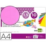 Liderpapel GE83 - Goma eva, espesor de 1,5 mm, tamaño A4, paquete de 10, color rosa