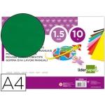 Liderpapel GE84 - Goma eva, espesor de 1,5 mm, tamaño A4, paquete de 10, color verde