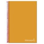 Liderpapel Jolly BA29 - Bloc espiral, tamaño A4, tapa extradura, 140 hojas de 75 gr, cuadrícula de 5 mm, sin margen, microperforado, 4 taladros, color naranja