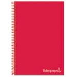 Liderpapel Jolly BA50 - Bloc espiral, tamaño A4, tapa extradura, 140 hojas de 75 gr, cuadrícula de 5 mm, sin margen, microperforado, 4 taladros, color rojo