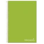 Liderpapel Jolly BA96 - Bloc espiral, tamaño A4, tapa extradura, 140 hojas de 75 gr, cuadrícula de 5 mm, sin margen, microperforado, 4 taladros, color verde