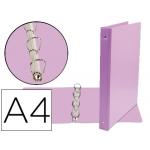 Liderpapel KA04 - Carpeta de anillas, 4 anillas mixtas de 25 mm, plástico, tamaño A4, color lila
