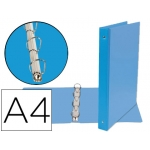 Liderpapel KA06 - Carpeta de anillas, 4 anillas mixtas de 25 mm, plástico, tamaño A4, color celeste