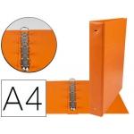 Liderpapel KA07 - Carpeta de anillas, 4 anillas mixtas de 40 mm, plástico, tamaño A4, color naranja