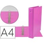 Liderpapel KA08 - Carpeta de anillas, 4 anillas mixtas de 40 mm, plástico, tamaño A4, color fucsia